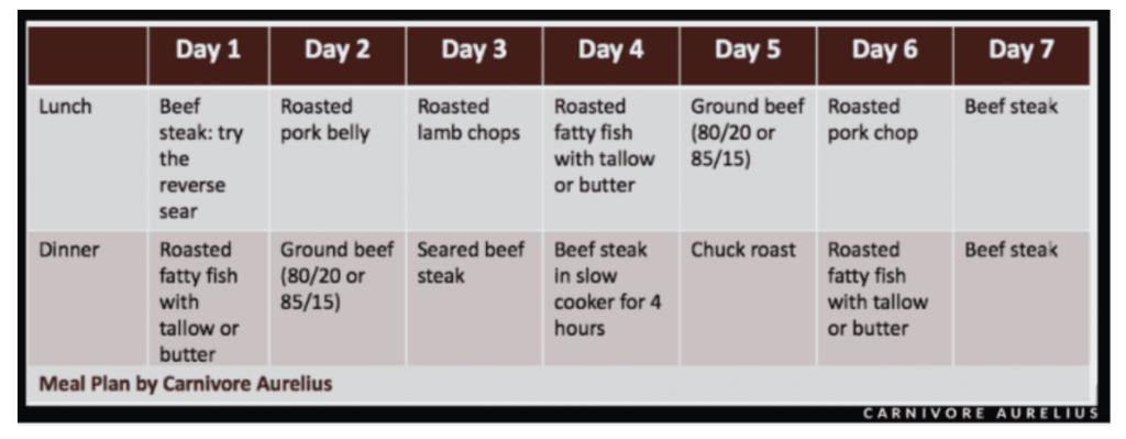 Carnivore meal plan